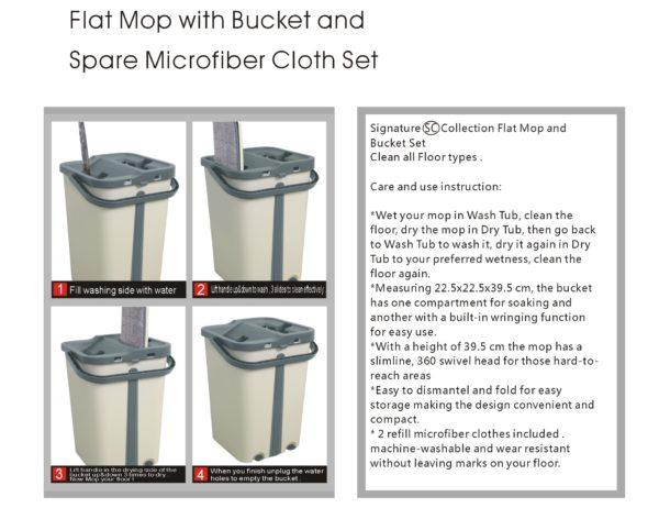 Floor Flat Mop Wash Dry Bucket Microfiber