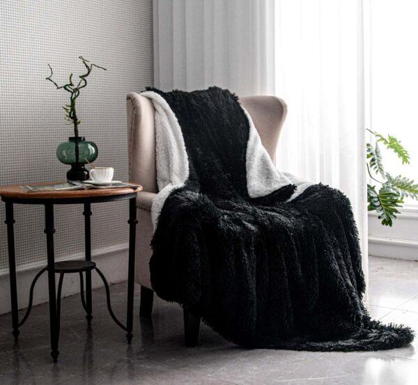 Sherpa wool faux fur throw blanket living room cozy bedroom decoration Christmas birthday gift